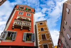 Traditional old town architecture of Rovinj, Croatia. Istria touristic attraction Royalty Free Stock Photography