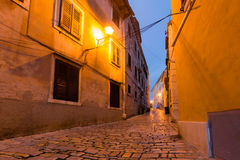 Traditional old town architecture of Rovinj in night, Croatia. Istria touristic attraction.  royalty free stock photography