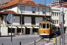 Traditional old tram in Porto royalty free stock image