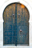 Traditional, old Tunisian front door Royalty Free Stock Images