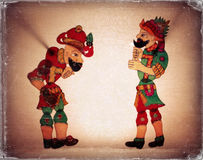 Traditional Old Turkish Ottomans shadow theater ( Galanty show ) Hacivat and Karagoz. Stock Photo