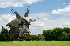 Traditional old Ukrainian rural windmill ,Pirogovo,Europe Stock Photo