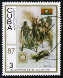 Traditional old vehicles. Bolivian llama, circa 1987. MOSCOW, RUSSIA - FEBRUARY 19, 2017: A stamp printed in the Cuba, shows traditional old vehicles. Bolivian Royalty Free Stock Images