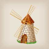 Traditional old windmill building single object color painted concept. Royalty Free Stock Photography