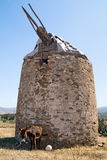 Traditional old windmill located at Naxos island Stock Photography