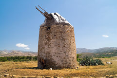 Traditional old windmill located at Naxos island Royalty Free Stock Images