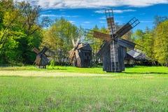 Traditional old windmills, Astra Museum, Sibiu, Transylvania, Romania, Europe Stock Photography