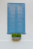 Traditional old wooden blue window with a pot of flowers at the front in Nafplio Greece. Stock Photography