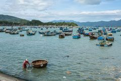 Traditional old wooden Vietnamese boats and round fishing boats Thung Chai. Local woven bamboo basket boats or coracle moored near. Harbour. Vietnam Stock Photography
