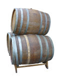 Traditional old wooden wine barrels isolated over white Royalty Free Stock Image