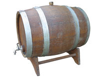Traditional old wooden wine barrels isolated over white Royalty Free Stock Photos