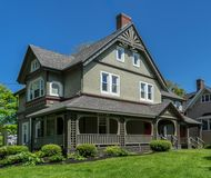 Traditional Home. Traditional older home with landscaped grounds royalty free stock image
