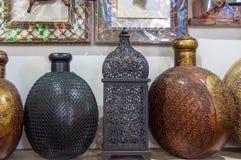 Traditional Omani brass handicrafts display Stock Photos