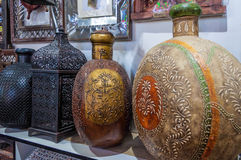 Traditional Omani brass handicrafts display Royalty Free Stock Photos