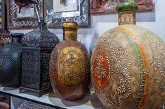 Traditional Omani brass handicrafts display Royalty Free Stock Photos