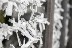 Traditional omikuji paper for fortune, fate, luck and blessing prayer. Asia royalty free stock image