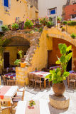 Traditional open air restaurant in the Old Town of Chania, Crete Stock Photo