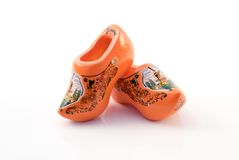 Traditional orange dutch clogs Stock Photos