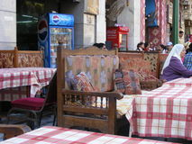 Traditional Oriental Arabic seats or couch at restaurant in egypt. On  display in souk market in khan el khalili cairo egypt Royalty Free Stock Photos