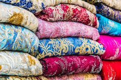 Traditional oriental cloth sold in a store in old town Dubai. United Arab Emirates stock images