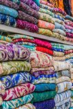 Traditional oriental cloth sold in a store in old town Dubai. United Arab Emirates royalty free stock photos