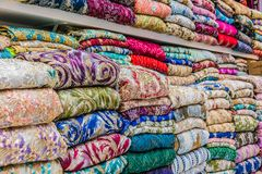 Traditional oriental cloth sold in a store in old town Dubai. United Arab Emirates stock image