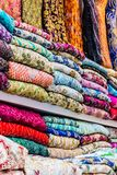 Traditional oriental cloth sold in a store in old town Dubai. United Arab Emirates royalty free stock photography