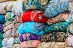 Traditional oriental cloth sold in a store in old town Dubai. United Arab Emirates royalty free stock images