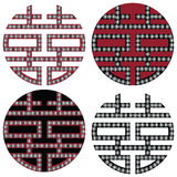 Traditional Oriental Korean symmetrical double happiness zen symbols in black, white and red with diamonds element fashion and tat Stock Photo
