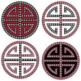 Traditional Oriental Korean symmetrical zen symbols in black, white and red with diamonds element fashion and tattoo elements Stock Images