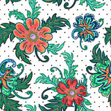 Traditional oriental seamless paisley pattern. Vector. Stock Photo