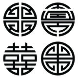 Traditional Oriental symmetrical zen symbols in black symbolizing longevity, wealth, double happiness Stock Photography
