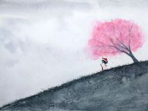 Traditional oriental woman waiting someone under cherry blossom or sakura in field. watercolor landscape royalty free illustration