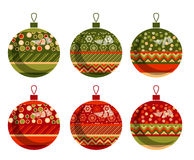 Traditional ornament patchwork xmas bubbles Royalty Free Stock Image