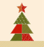 Traditional ornament patchwork xmas tree Royalty Free Stock Image