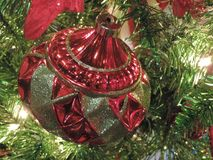 Traditional ornament. Red and green ornament with red bow Royalty Free Stock Photography