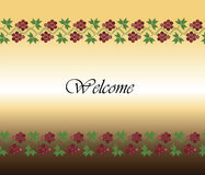 Traditional ornament welcome background. Welcome design background with traditional grapes ornament. Vector Stock Images