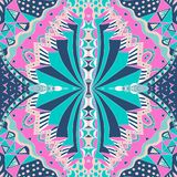 Traditional ornamental paisley bandanna. Hand drawn background with artistic pattern. Bright colors. Stock Photography
