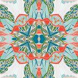 Traditional ornamental paisley bandanna. Hand drawn background with artistic pattern. Bright colors. Royalty Free Stock Photos