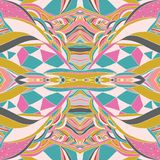 Traditional ornamental paisley bandanna. Hand drawn colorful aztec pattern with artistic pattern.  Pastel colors. Seamless pattern Stock Photography