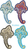 Traditional ornamental set. Paisley design Stock Images