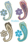Traditional ornamental set. Paisley design Stock Photo
