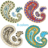 Traditional ornamental set. Paisley design Royalty Free Stock Photos