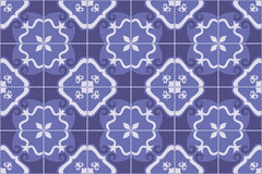 Traditional ornate portuguese and brazilian tiles azulejos in blue. Vector illustration. Stock Images