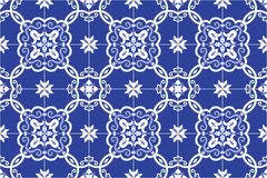 Traditional ornate portuguese and brazilian tiles azulejos in blue. Vector illustration. Stock Photo