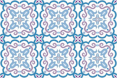 Traditional ornate portuguese and brazilian tiles azulejos in blue and violet. Vector illustration. Royalty Free Stock Images