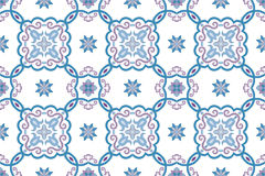 Traditional ornate portuguese and brazilian tiles azulejos in blue and violet. Vector illustration. Stock Images