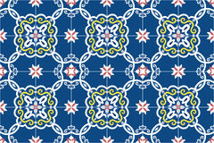 Traditional ornate portuguese and brazilian tiles azulejos in blue, yellow and pink. Spanish talavera tiles. Vintage pattern. Stock Photos