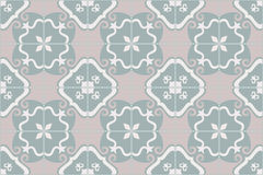 Traditional ornate portuguese and brazilian tiles azulejos. Faded dingy worn colors azulejo tiles. Vector illustration. Royalty Free Stock Photos