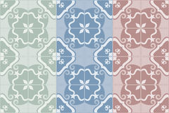 Traditional ornate portuguese and brazilian tiles azulejos. Set of 3 color variations. Vector illustration. Traditional decorative ornate portuguese and Royalty Free Stock Photo